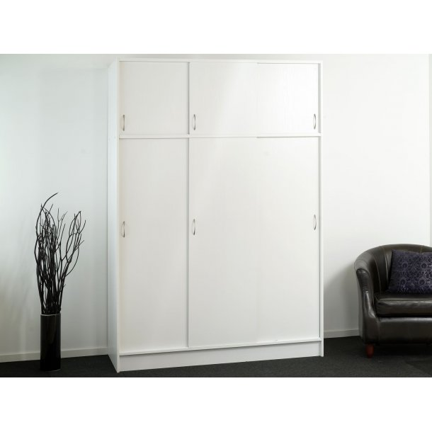 Gitte hvidt 150 cm garderobeskab med 6 skydedøre