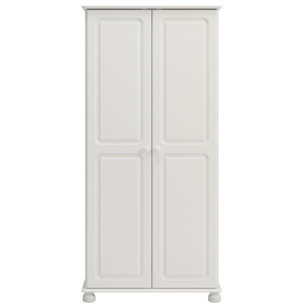 Rex 90 cm bredt hvidt klædeskab med 2 døre og udskæringer