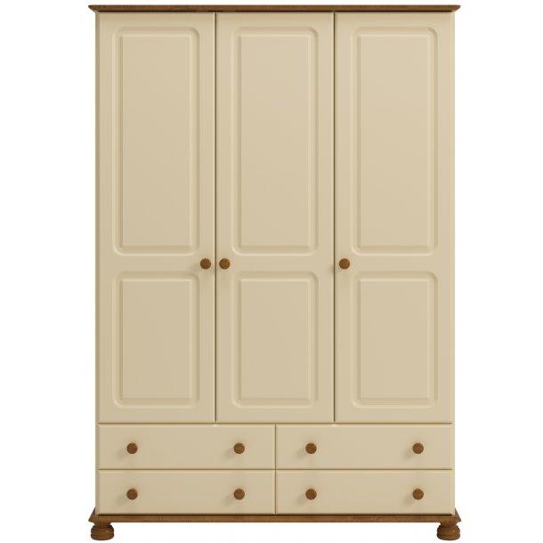 Royal klædeskab 130 cm cream farvet med 3 døre og 4 skuffer.