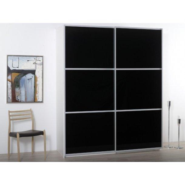 Gitte garderobeskab 180 cm med 2 skydedøre med sort glas