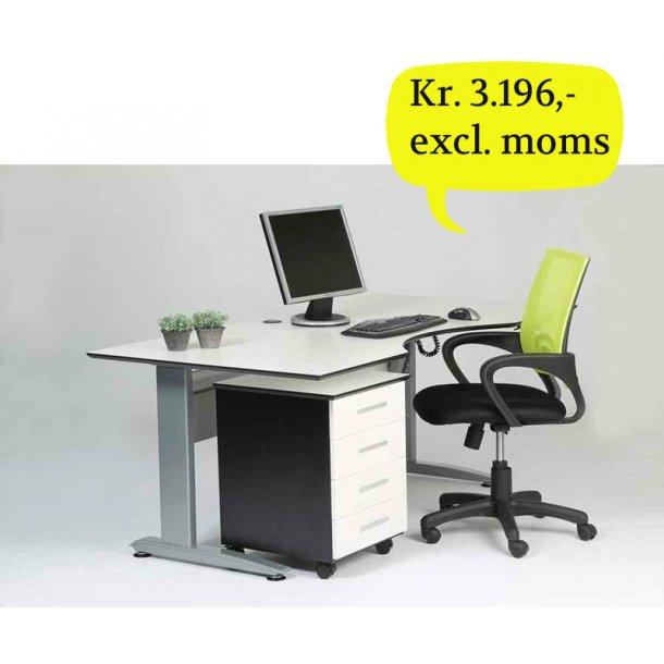 Krone hvidt og sort elektrisk hæve sænke skrivebord med bordplade 180 x 90 cm