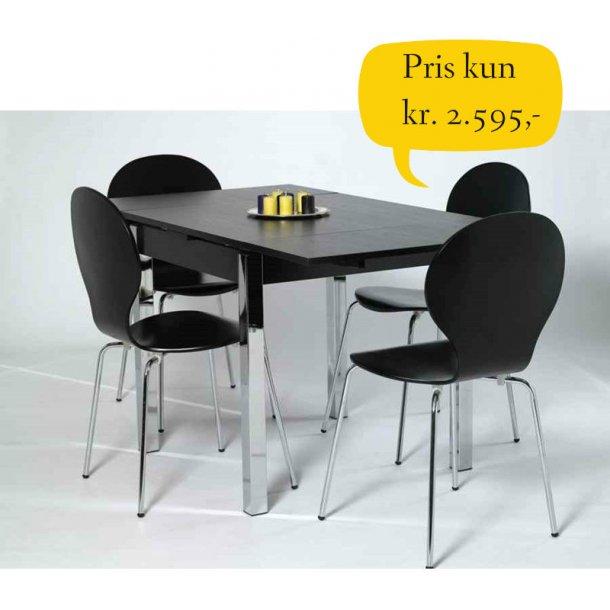 Jan sort spisebordssæt 80 x 80 cm med hollandsk udtræk og 4 sorte skal stole