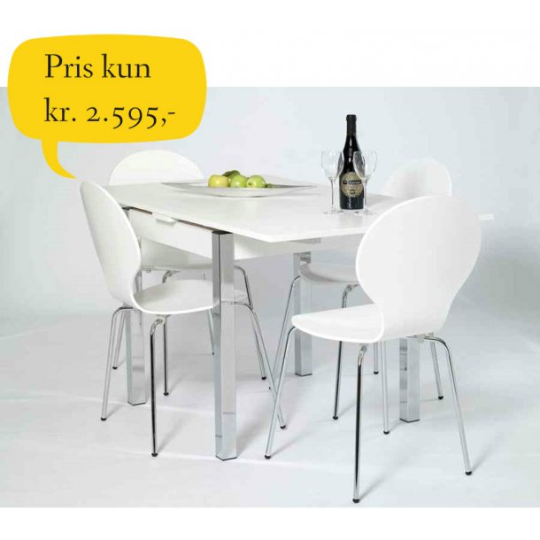 Jan spisebordssæt hvidt 80 x 80 cm med hollandsk udtræk og 4 hvide skalstole