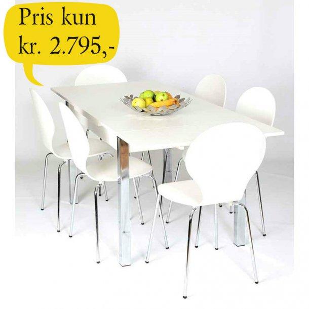 Jan spisebordssæt hvidt 80 x 120 cm med hollandsk udtræk og 4 hvide skalstole