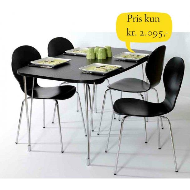 Jan spisebordssæt 80 x 138 med bordplade i sort melamin inklusive 4 skalstole