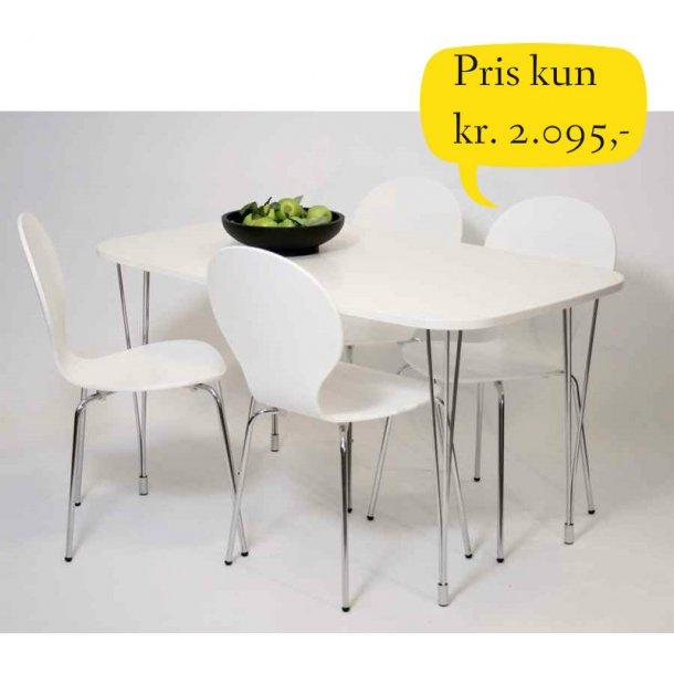 Jan spisebordssæt 80 x 138 med bordplade i hvid melamin inklusive 4 skalstole