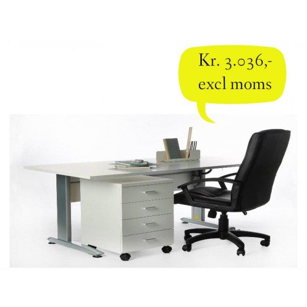 Krone elektrisk hæve sænke skrivebord med hvid bordplade 160 x 80 cm