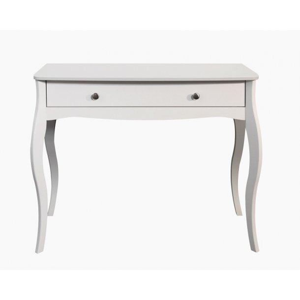 Rokoko 100 cm bredt konsolbord hvid lakeret med 1 skuffe