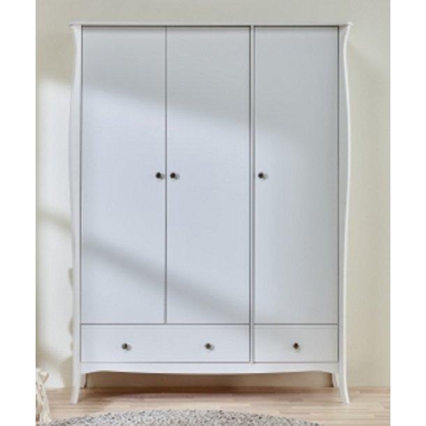 Rokoko hvidt klædeskab 145 cm bredt med 3 døre og skuffer.