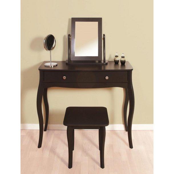 Rokoko sminkebord sort 100 cm bredt med spejl og skammel