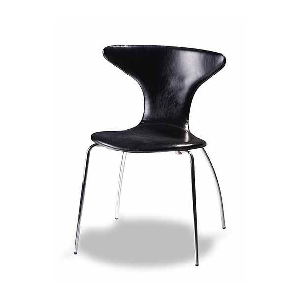 Susie spisebordsstol sort læder look med buet sæde