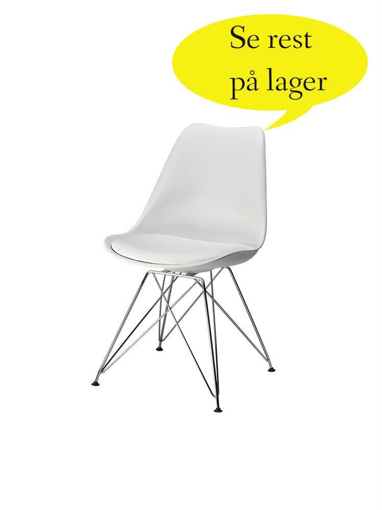 Sille hvid stol med læder betræk med tyk sidde hynde og krom stel