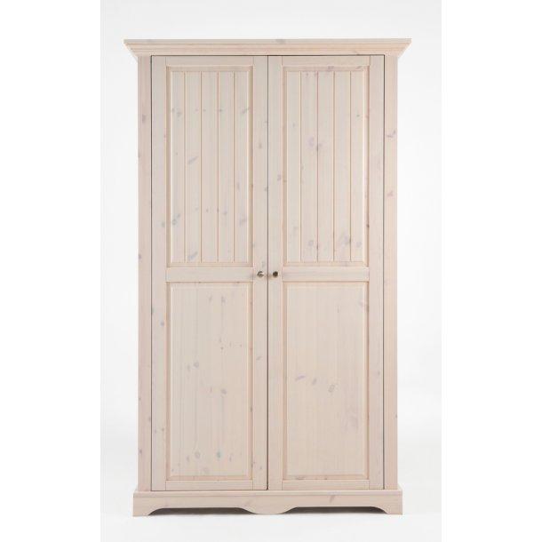 Lotte 120 cm bredt hvidt klædeskab med 2 døre og 4 hylder