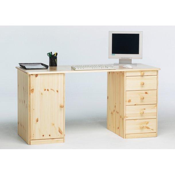 Kim skrivebord med 1 skab og 4 skuffer i lyst fyrretræ