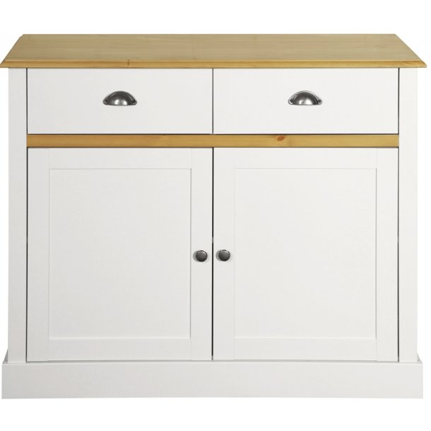 Sandvig hvid 100 cm bred skænk med 2 døre og 2 skuffer.
