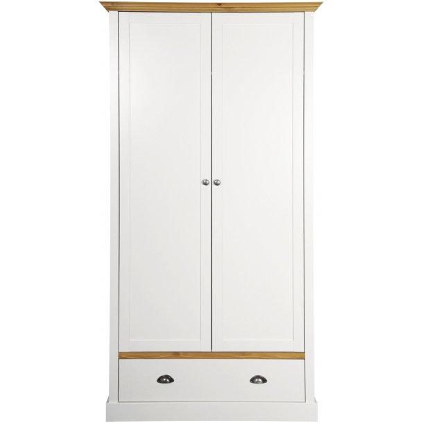 Sandvig hvidt 100 cm bredt klædeskab med 2 døre og 1 skuffe