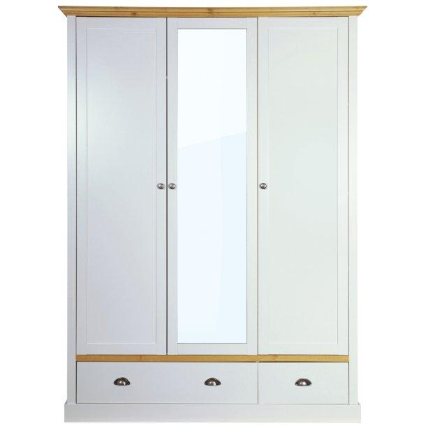 Sandvig klædeskab lys grå 150 cm bredt med 3 døre og 2 skuffer