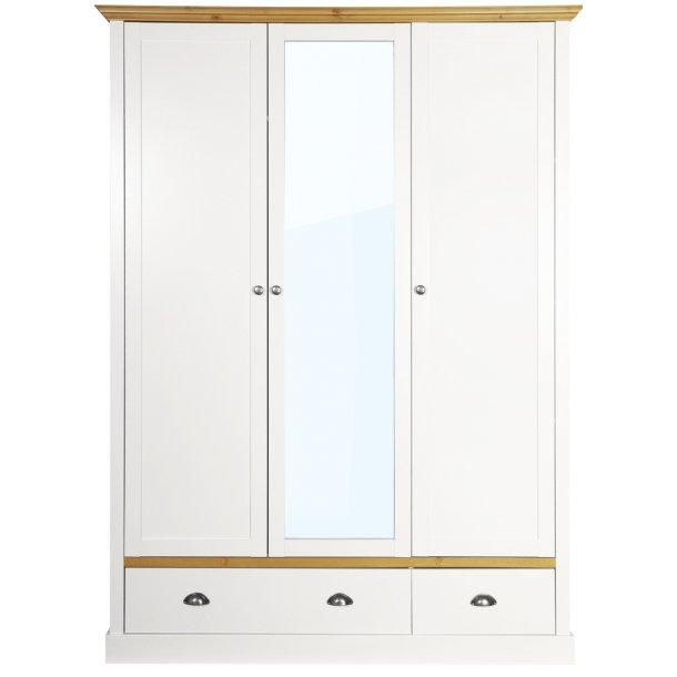 Sandvig hvidt 150 cm bredt klædeskab med 3 døre og 2 skuffer