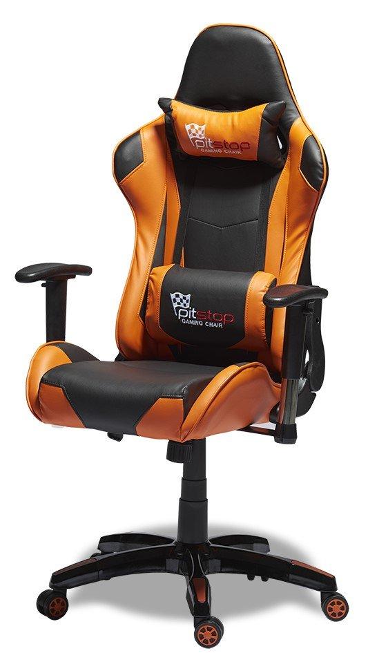Casino kontorstol med sort betræk, orange kanter og justerbare armlæn