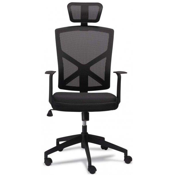York sort kontorstol med netryg og nakkestøtte