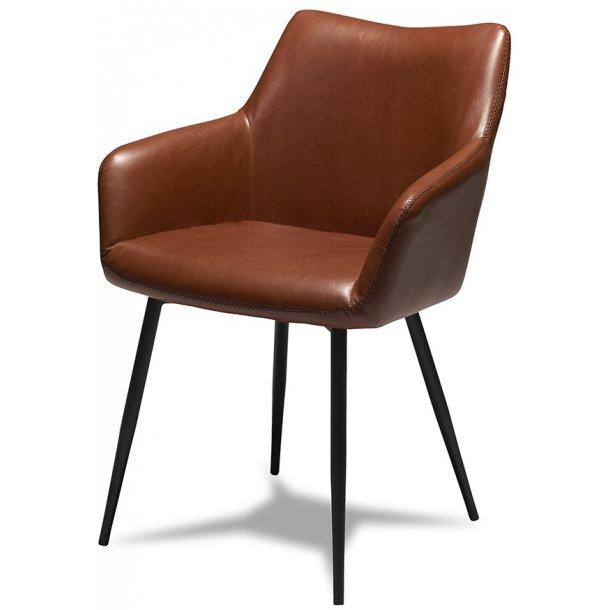 Mary lys brun stol med læder look og med skålformet sæde og armlæn