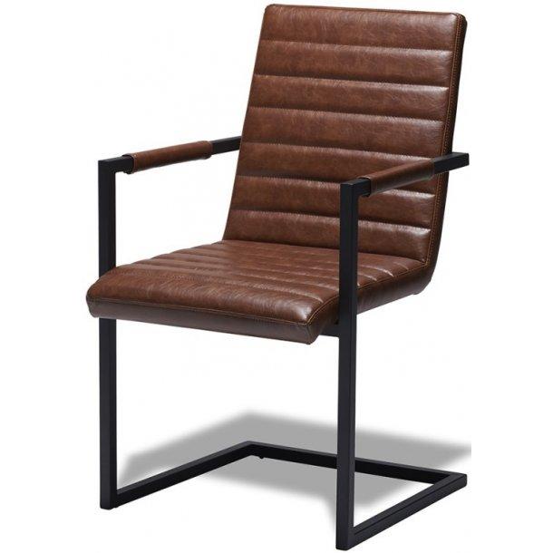 Bristol stol med lysebrunt læder look og sort metal stel