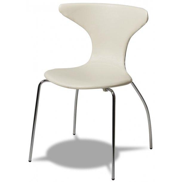 Susie spisebordsstol læder look med let buet sæde