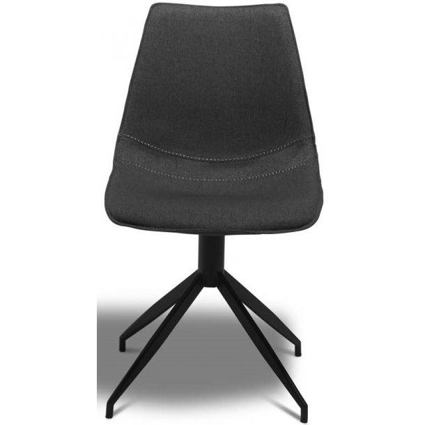 Irma spisebordstol med skålformet sæde samt let buet ryg i mørk gråt slidstærkt stof og sort stel