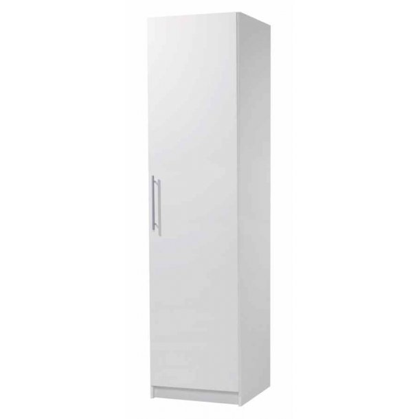 Helle hvidt garderobeskab 51 cm bredt med 1 dør, hylde og bøjlestang