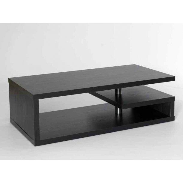 Roxy 120 cm bredt sofabord i sort melamin med 3 hylder