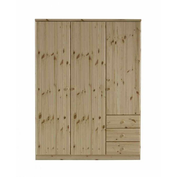 Randers 150 cm bredt 3 dørs garderobeskab i massivt fyrretræ