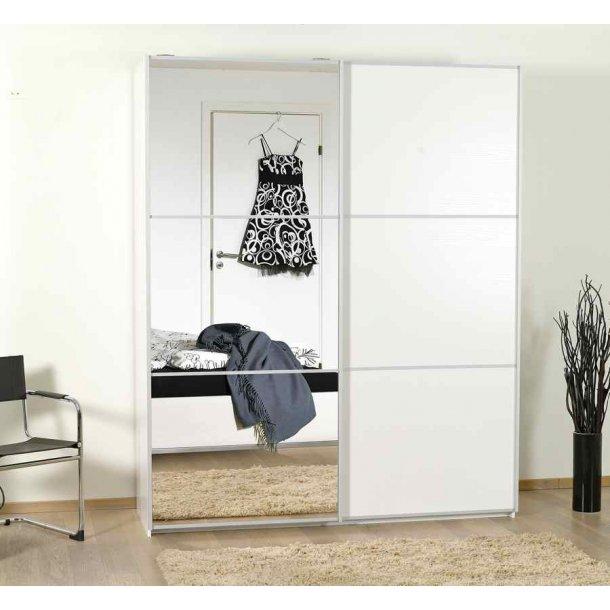 Gitte klædeskab 180 cm med 2 skydedøre med spejl og hvid melamin med struktur