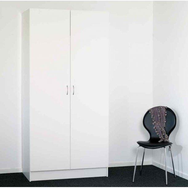 Helle højskab 100 cm bred hvidt med 2 døre, hylder og bøjlestang
