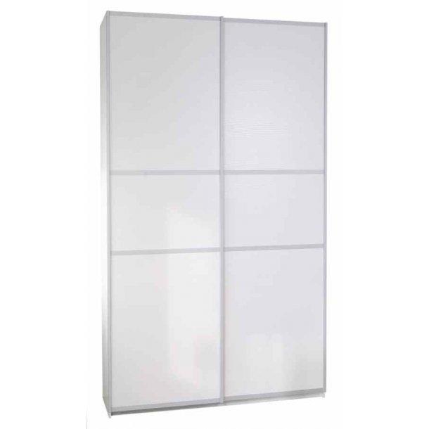 Gitte hvidt garderobeskab 120 cm bredt med 2 skydedøre
