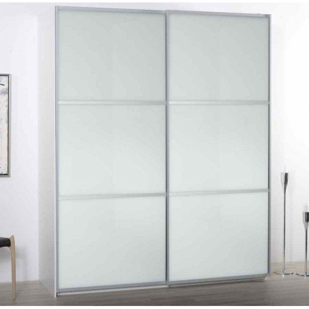 Gitte garderobeskab 180 cm med 2 skydedøre med hvidt glas