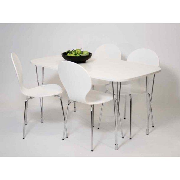 Jan spisebord 80 x 138 med bordplade i hvid melamin