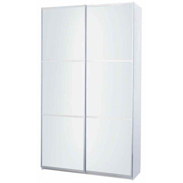 Gitte garderobeskab 120 cm med 2 skydedøre med hvidt glas