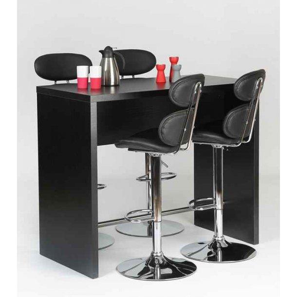 Jan barbord 120 cm bredt sort ask med plads til 4 barstole.