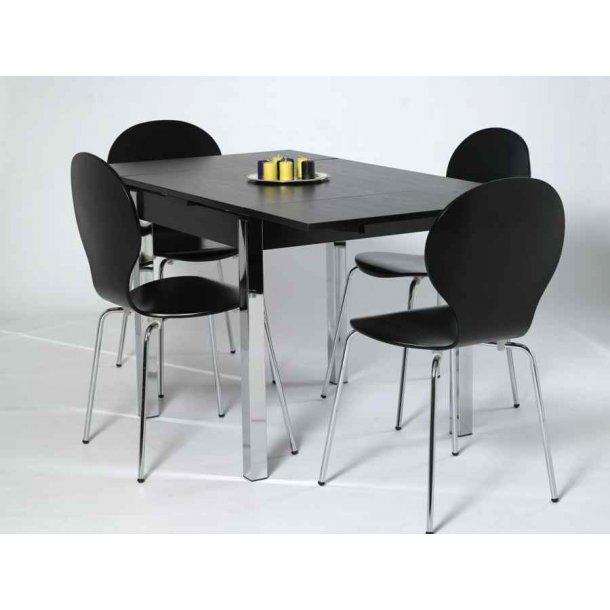 Jan sort spisebord 80 x 80 cm med hollandsk udtræk