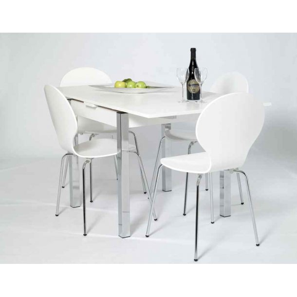 Jan hvidt spisebord 80 x 80 cm med hollandsk udtræk