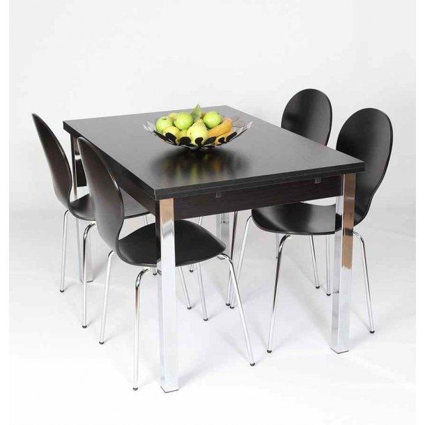 Jan sort spisebord 80 x 120 cm med hollandsk udtræk