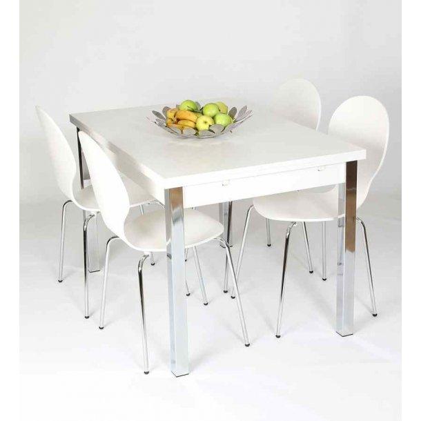 Jan hvidt spisebord 80 x 120 cm med hollandsk udtræk
