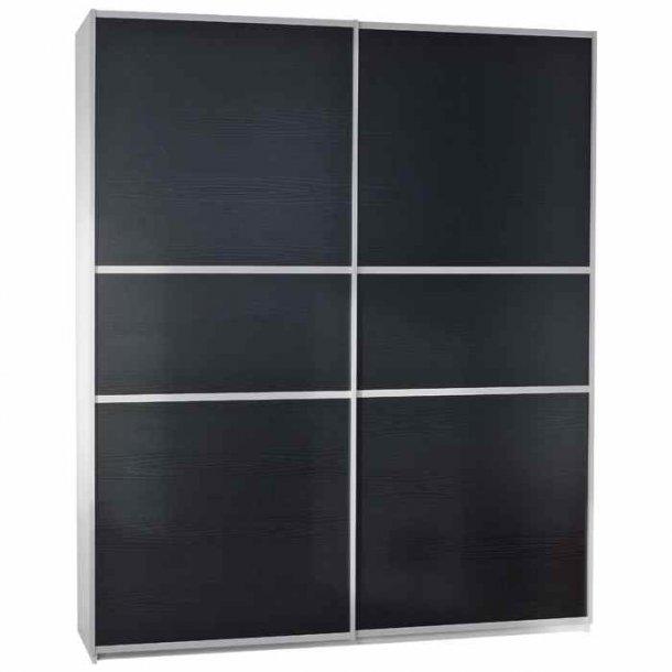 Gitte garderobeskab 180 cm med 2 skydedøre sort struktur