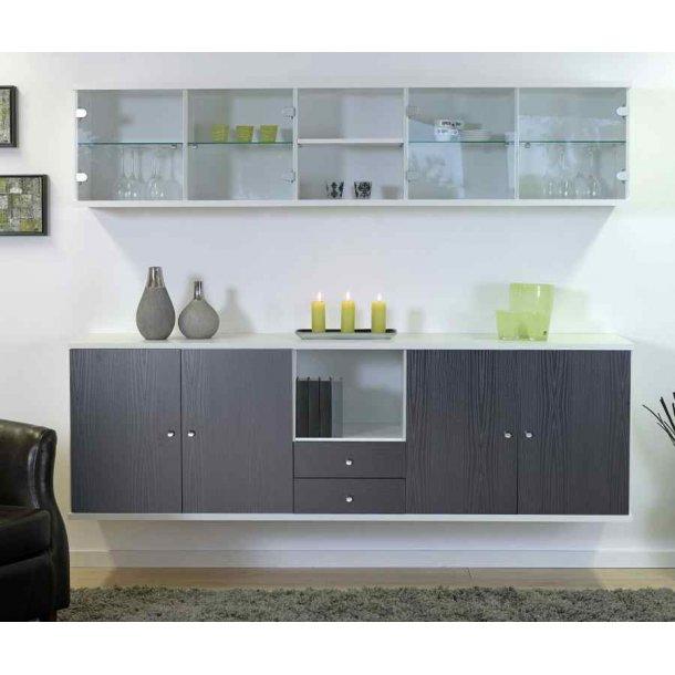 Lena 195 cm sort vægskab med 2 skabe, skuffer og hvid hænge vitrine
