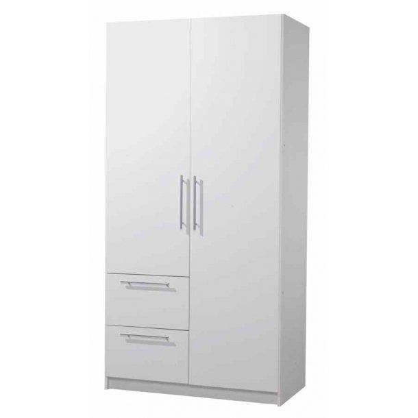 Helle hvidt garderobeskab 101 cm bredt med 2 døre og 2 skuffer