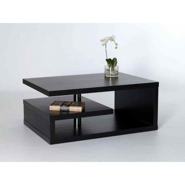 Roxy 90 cm bredt sofabord i sort melamin med 3 hylder