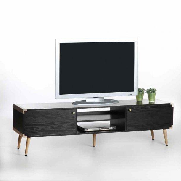 Frisenborg TV bord 165 cm bredt i sort melamin med 2 skabe og hylder