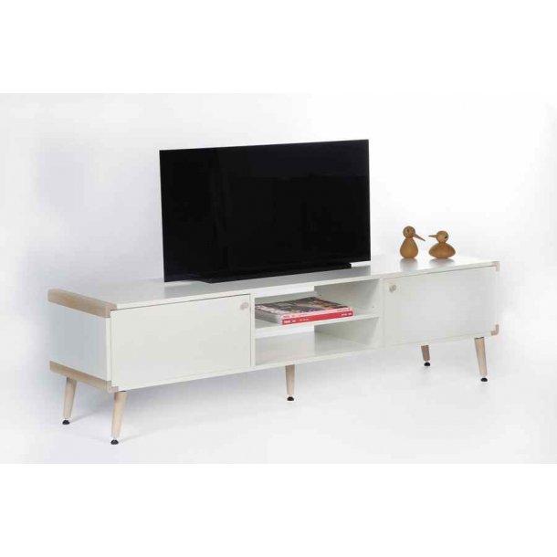Frisenborg TV bord 165 cm bredt i hvid melamin med 2 skabe og hylder