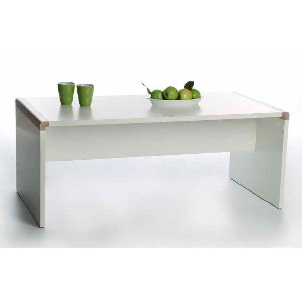 Frisenborg sofabord 120 cm bredt i hvid melamin med hjørner i egetræ