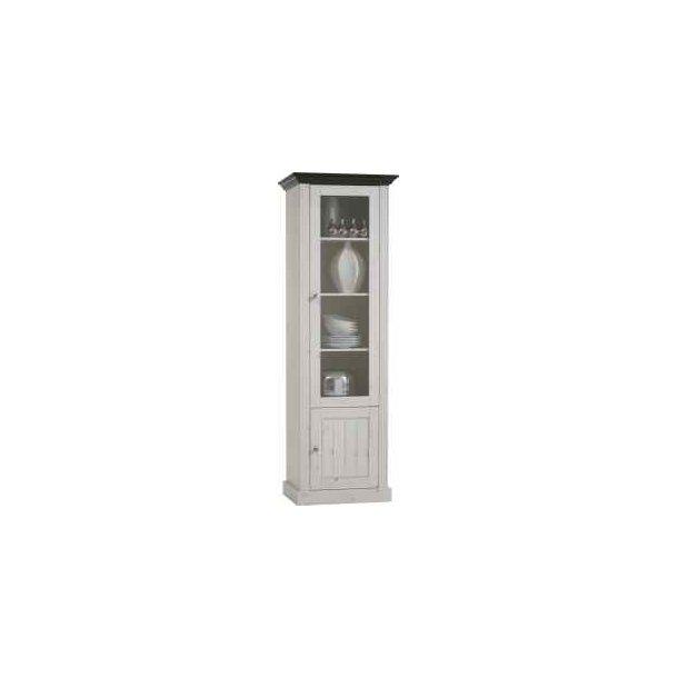 Silkeborg hvidt 60 cm vitrineskab med 1 glasdør og 1 skab.